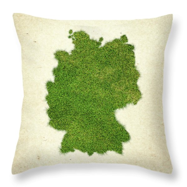 Germany Grass Map Throw Pillow by Aged Pixel