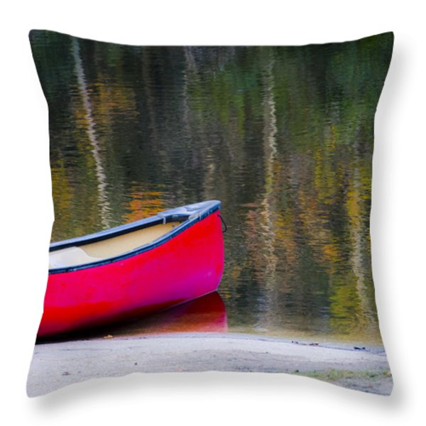 Getaway Canoe Throw Pillow by Carolyn Marshall