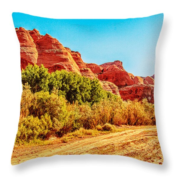Getting The Sun In Canyon De Chelly Throw Pillow by  Bob and Nadine Johnston