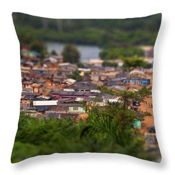 Ghanaian Village Throw Pillow by Samuel Whitton
