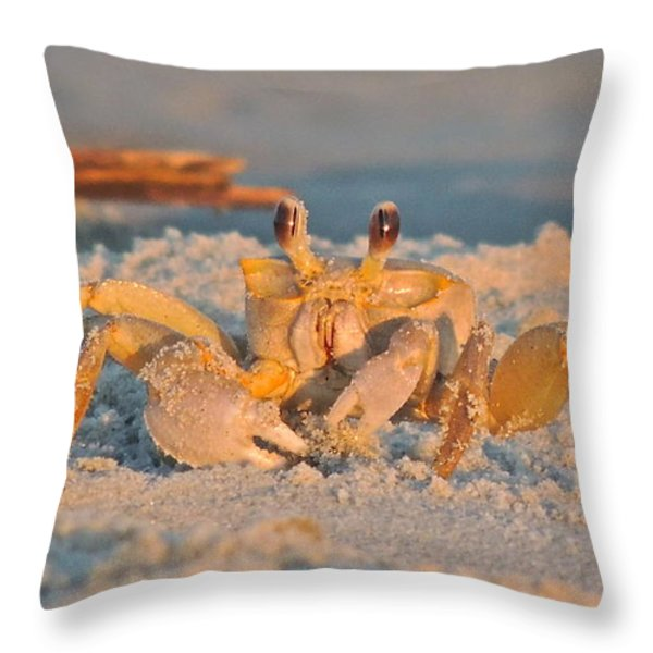 Ghost Crab Throw Pillow by Eve Spring