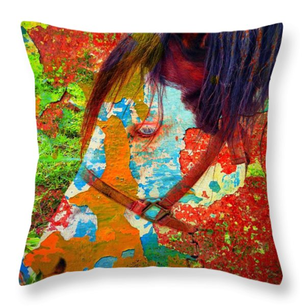 Ghost Horse Throw Pillow by Skip Hunt