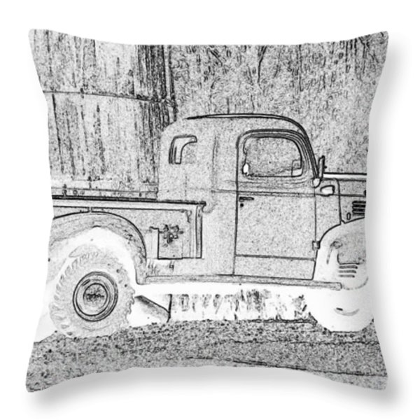 Ghost of a Truck Throw Pillow by Jean Noren