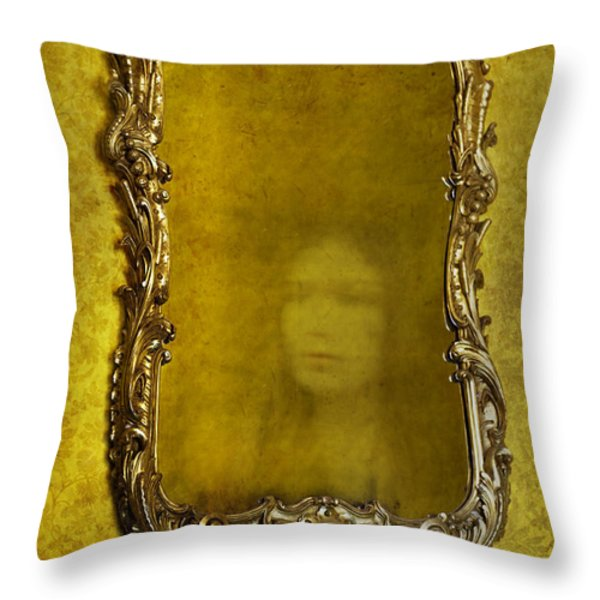 Ghost Of A Woman Reflected In A Mirror Throw Pillow by Lee Avison