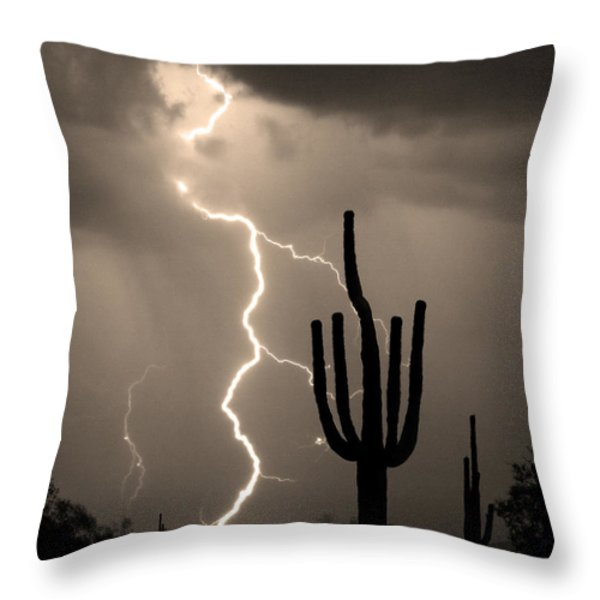 Giant Saguaro Cactus Lightning Strike Sepia  Throw Pillow by James BO  Insogna