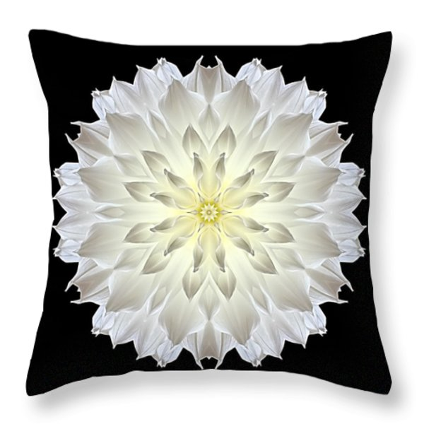 Giant White Dahlia Flower Mandala Throw Pillow by David J Bookbinder
