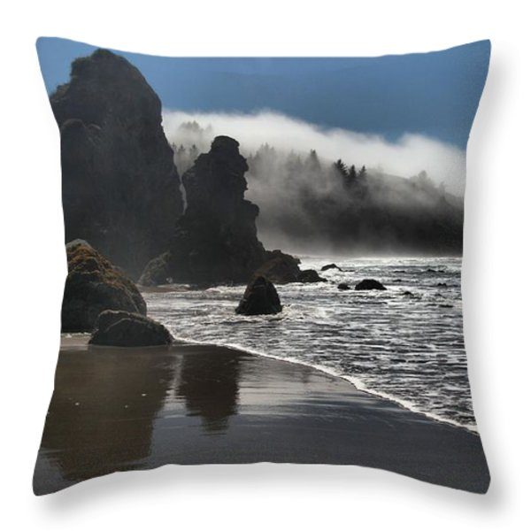 Giants On The Beach Throw Pillow by Adam Jewell