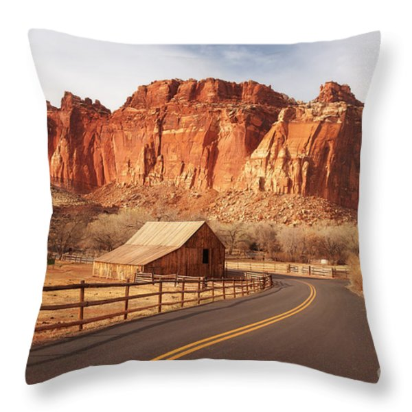 Gifford Barn At Capitol Reef National Park Throw Pillow by Carolyn Rauh