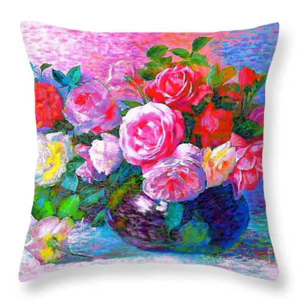 Gift of Roses Throw Pillow by Jane Small