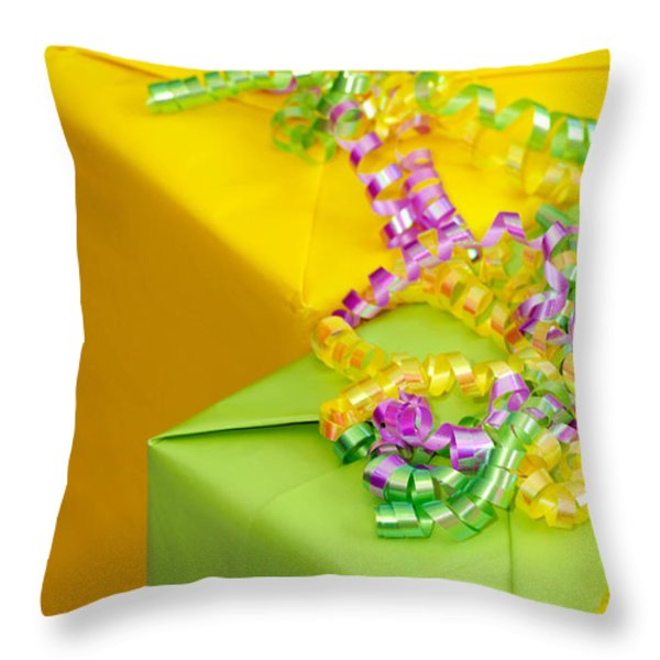 Gifts With Ribbon Throw Pillow by Amy Cicconi