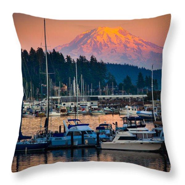 Gig Harbor Dusk Throw Pillow by Inge Johnsson