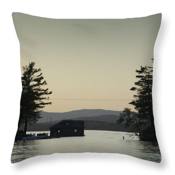 Gilford Harbor Boathouse Throw Pillow by David Gordon