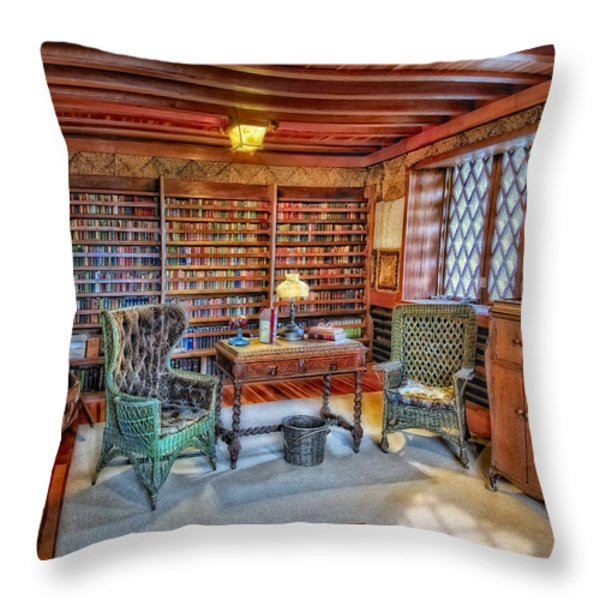 Gillette Castle Library Throw Pillow by Susan Candelario