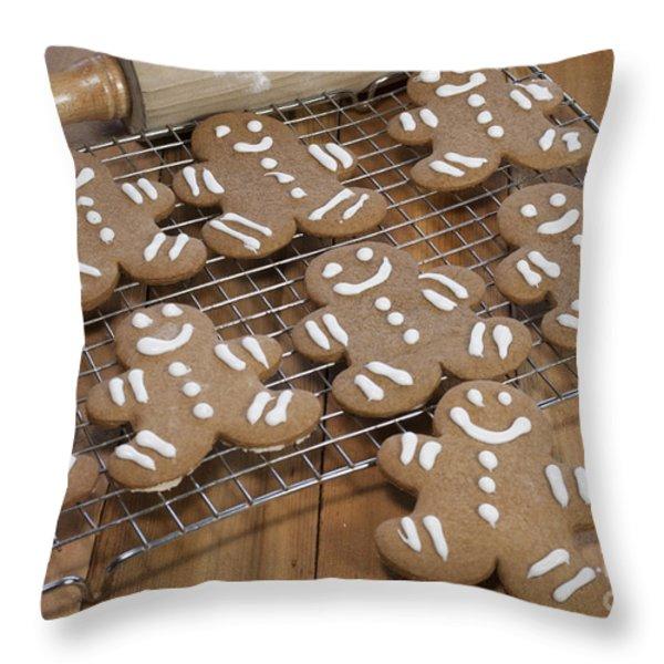 Gingerbread Man Cookies Throw Pillow by Juli Scalzi