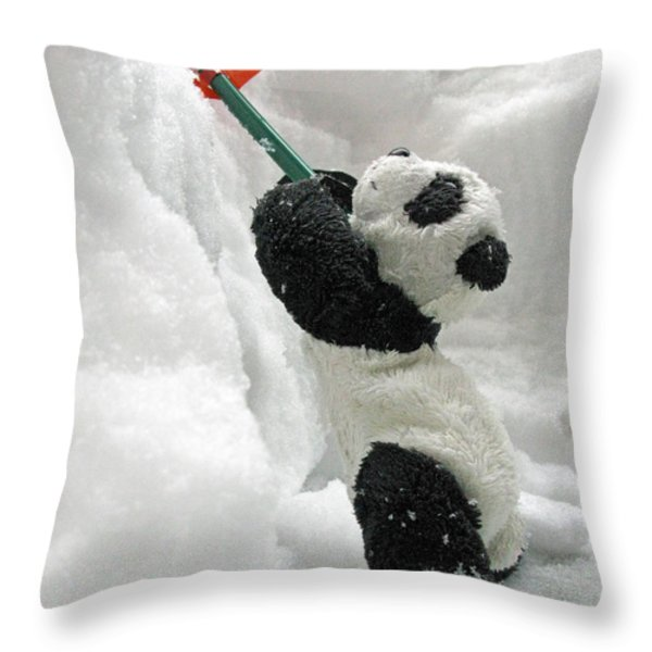 Ginny The Baby Panda In Winter #01 Throw Pillow by Ausra Huntington nee Paulauskaite