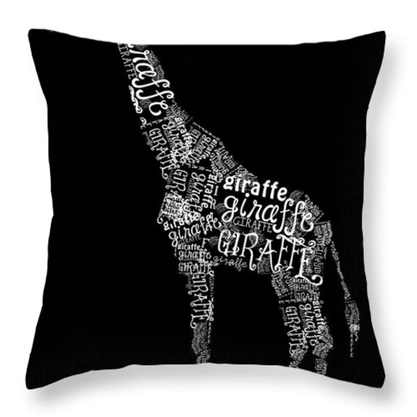 Giraffe is the Word Throw Pillow by Heather Applegate