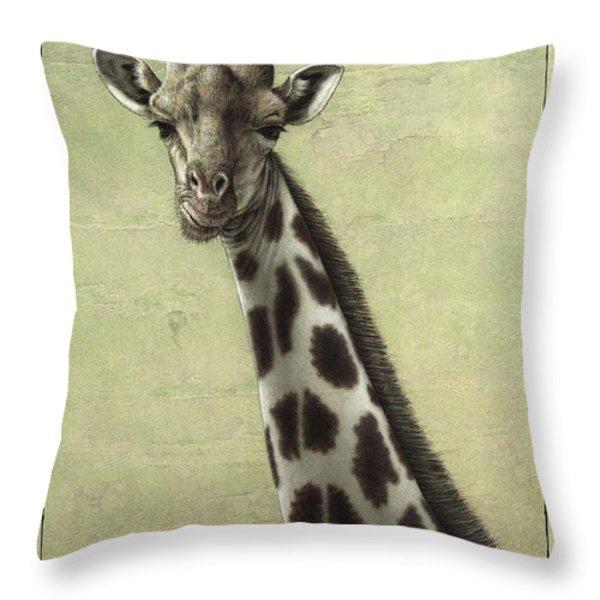 Giraffe Throw Pillow by James W Johnson