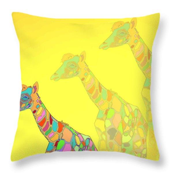 Giraffe X 3 - Yellow - The Card Throw Pillow by Joyce Dickens
