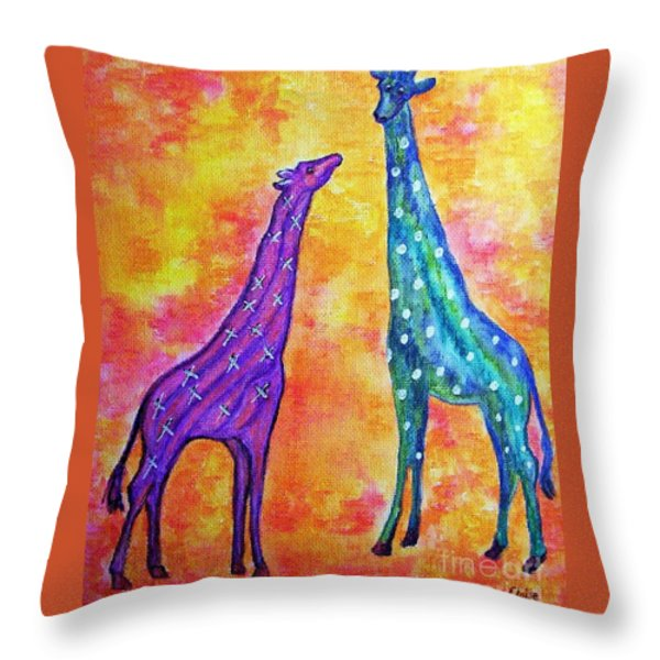 Giraffes With X's And O's Throw Pillow by Eloise Schneider