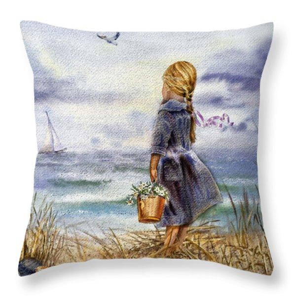 Girl And The Ocean Throw Pillow by Irina Sztukowski