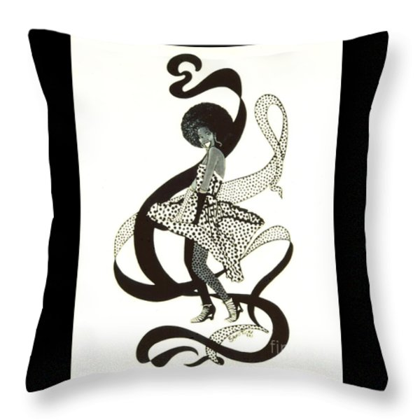 Girl in Polkadot Dress Throw Pillow by Sigrid Tune