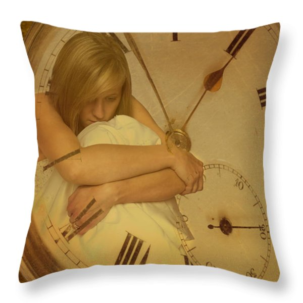 Girl In White Dress In Pocket Watch Throw Pillow by Amanda And Christopher Elwell
