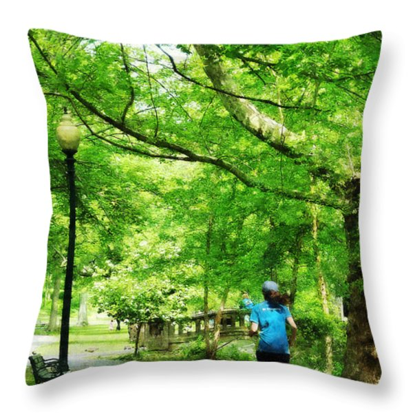 Girl Jogging With Dog Throw Pillow by Susan Savad