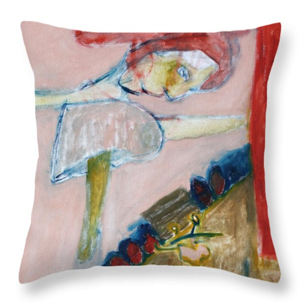 Girl Learning Ballet Throw Pillow by Anon Artist