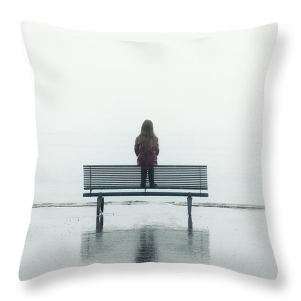 Girl On A Bench Throw Pillow by Joana Kruse
