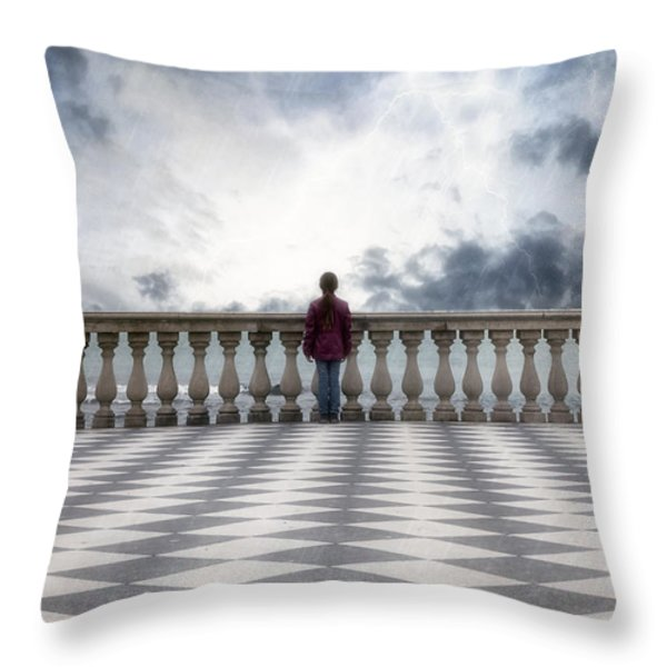 Girl On A Terrace Throw Pillow by Joana Kruse