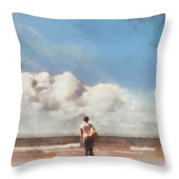 Girl on beach Throw Pillow by Pixel Chimp