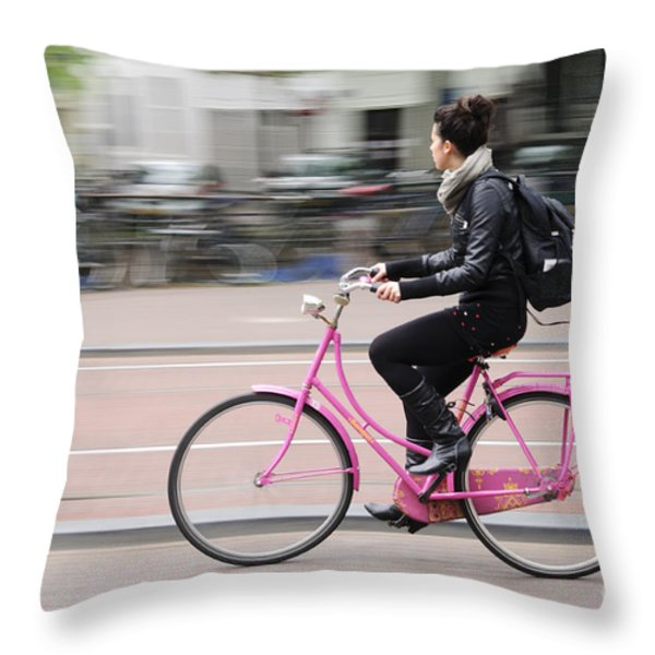 Girl On Pink Bicycle Throw Pillow by Oscar Gutierrez