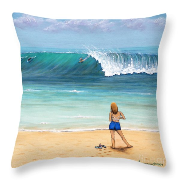 Girl On Surfer Beach Throw Pillow by Jerome Stumphauzer