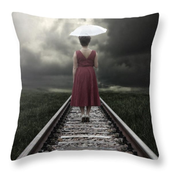 Girl On Tracks Throw Pillow by Joana Kruse