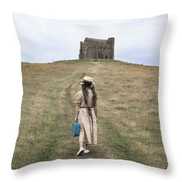 Girl Walks To A Chapel Throw Pillow by Joana Kruse