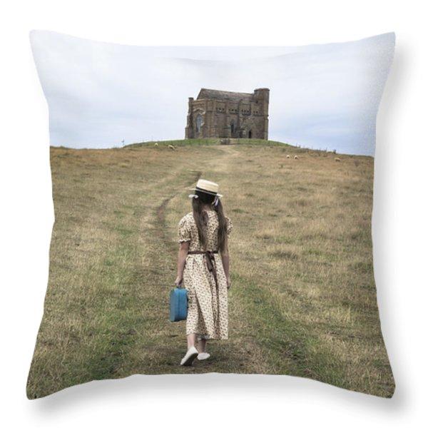girl walks to a chapel Throw Pillow by Joana Kruse