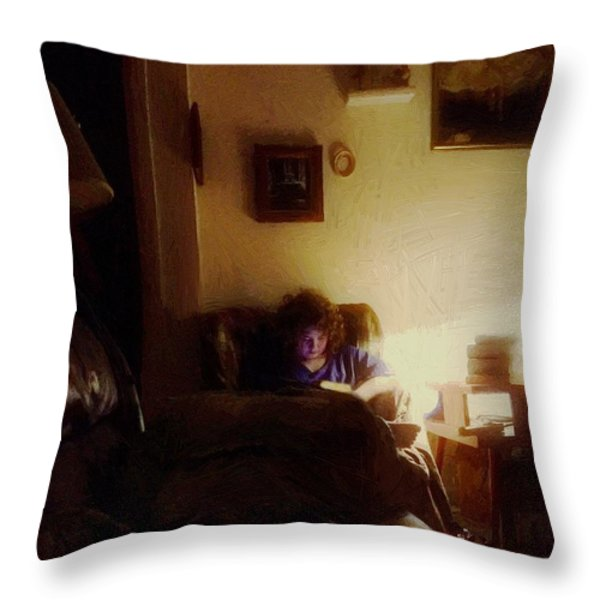 Girl With A Book Throw Pillow by RC DeWinter