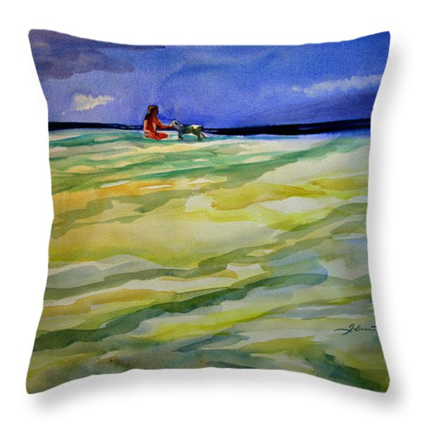 Girl With Dog On The Beach Throw Pillow by Julianne Felton