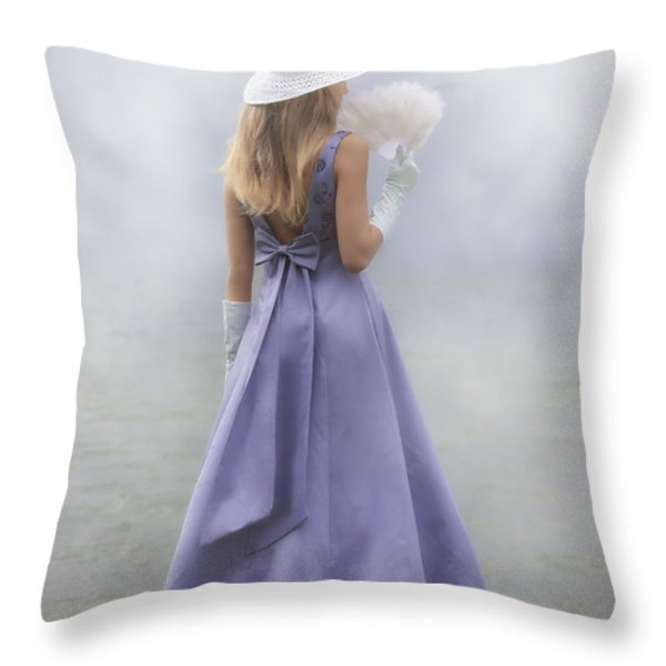 girl with fan Throw Pillow by Joana Kruse