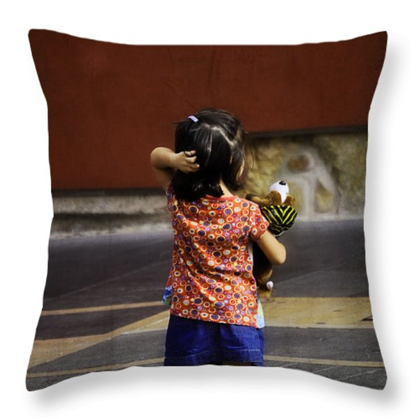 Girl with Toy Dog Throw Pillow by Mary Machare