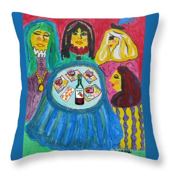 Girls Night Out Throw Pillow by Diane Pape