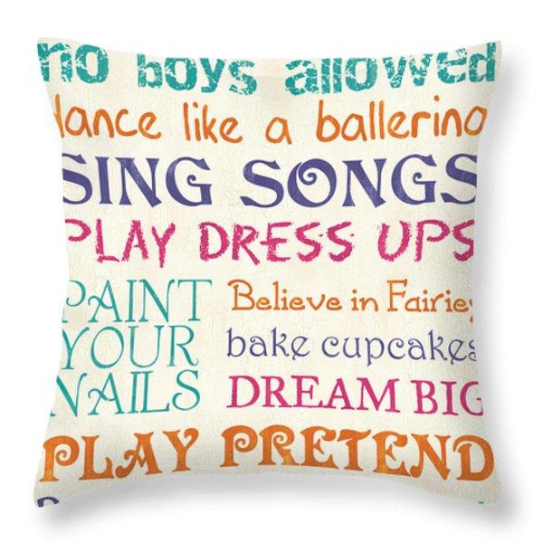 Girls Rules Throw Pillow by Debbie DeWitt