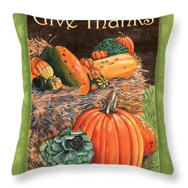Give Thanks Throw Pillow by Debbie DeWitt
