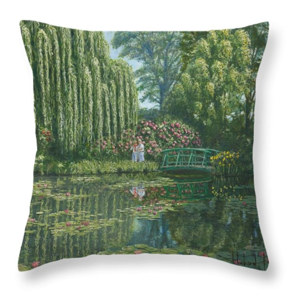 Giverny Reflections Throw Pillow by Richard Harpum