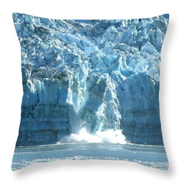 Glacier Calving Throw Pillow by Barbara Stellwagen