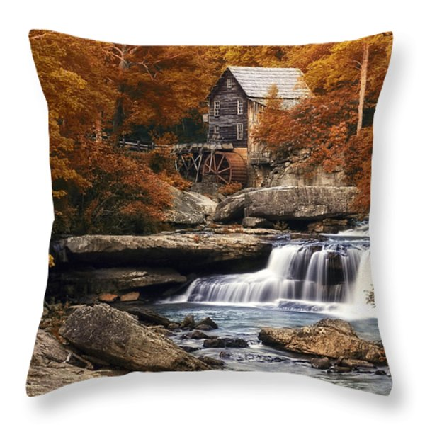 Glade Creek Mill in Autumn Throw Pillow by Tom Mc Nemar