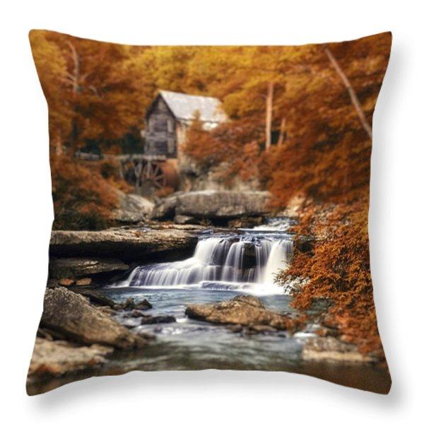Glade Creek Mill Selective Focus Throw Pillow by Tom Mc Nemar