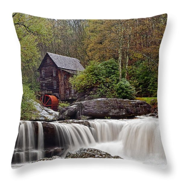 Glade Creek waterfall Throw Pillow by Marcia Colelli