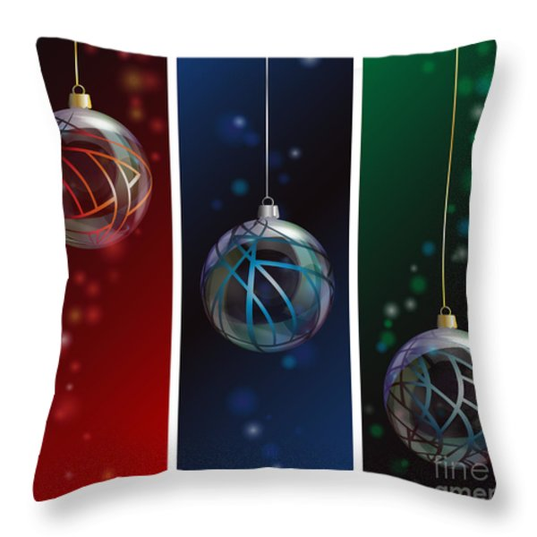 Glass bauble banners Throw Pillow by Jane Rix