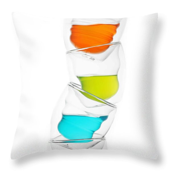 Glass Cups And Colorful Drinking II Liquid Art Throw Pillow by Paul Ge